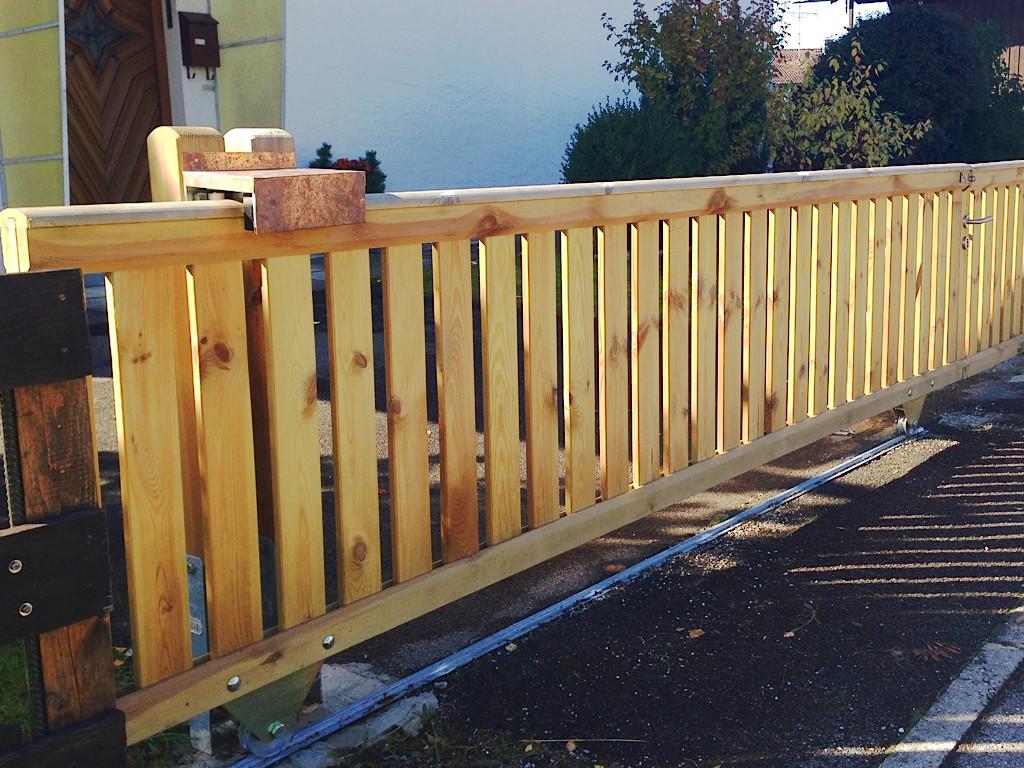 Geländer-Schiebetor ab 229EUR, Holz-Gartentor stabil mit Handlauf