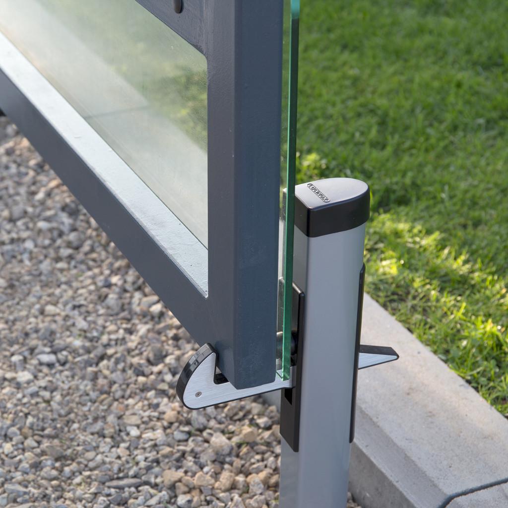 torfeststeller aus aluminium mit stopper und feststellhaken